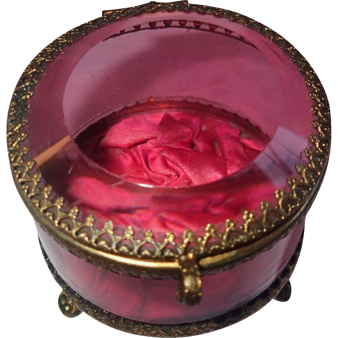 Antique Jewelry Casket Brass With Cranberry Clear Glass
