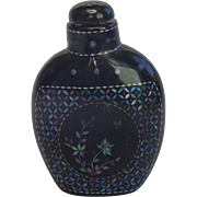 Antique Chinese Snuff Bottle , Black Lacquer With Mother Of Pearl Inlay