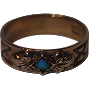 Antique Baby Ring, 14K Gold With Turquoise , C. 1890