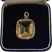 Georgian Pendant , 14K Gold & Yellow Citrine