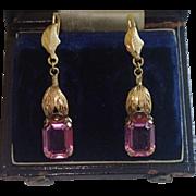 SALE Vintage Drop Earrings, 14K & Pink Glass , C. 1930