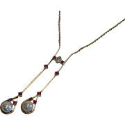 Edwardian Negligee Necklace , 18K, Natural Rubies , Pearls & Diamond