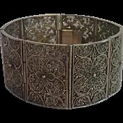 Vintage Filigree Bracelet ,  800 Silver Vermeil