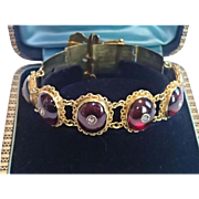 Victorian Buckle Bracelet ;  14K Set With Carbuncle  Garnets & Rose-Cut Diamonds ...... Exquis