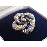 Victorian Love - Knot Pin / Pendant  , 14K & Enamel With 15 Point Old - Cut Diamond