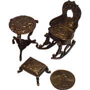 Miniature Silver  Furniture Suite With French Hallmarks , C. 1880