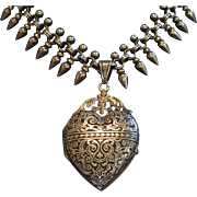 Antique Necklace , Silver Collar & Heart Locket , ...... French Circa 1870