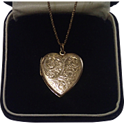 SALE PENDING Vintage Heart Locket & Chain ,  Hallmarked Chester England , C. 1951