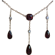 Edwardian Necklace;  Almandine Garnets & 14K With Natural Freshwater Pearls