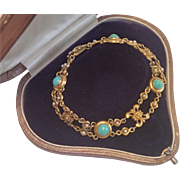 Art Nouveau Bracelet, 14K  With Natural Turquoise & Pearls