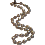 "SALE Vintage Baroque Silver Blue Pearls , ...... 15"" Long"