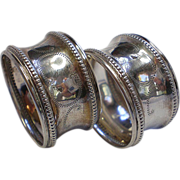 SALE Matching Pair Of  Silver Napkin Rings For Babies,  French  C. 1900