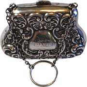 SALE Antique Sterling Purse With Chatelaine Ring , English, Circa 1906