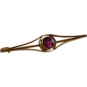 SALE Arts & Crafts Bar Pin , 14K Yellow Gold & Rhodolite Garnet