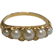 SALE Antique 14K Natural  Pearl & Rose-Cut  Diamond Ring , Circa 1870