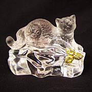 Faberge Crystal Leopard Figurine Franklin Mint