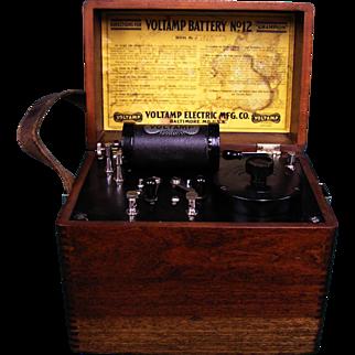 SALE Antique Voltamp Medical Quackery Instrument w/ Wood Box