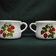 McCoy Strawberry Country Double Handled Soup Bowls