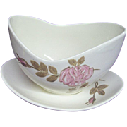 Red Wing Pottery Rose Pattern #331 Gravy Boat with Under Plate