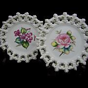 Vintage Lefton Hand Painted Porcelain Plates with Fleur-De-Lis Edge