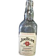 Extremely Rare 1 Gallon Jim Beam Whiskey Glass Bottle with U.S. Army Open Mess Stamp Attached