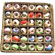 SOLD Rare Boxed set 36 Mercury Glass Mica Indent Feather Tree Vintage Christmas Ornaments