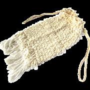Art Deco Flapper Era Ecru Beaded Crocheted Evening Bag Drawstring Purse Downton Abbey Ecru ...