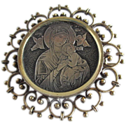 Antique Silver Vermeil Filigree Immaculate Medal Brooch Pin Blessed Mother Mary