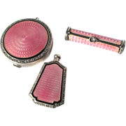 Art Deco Sterling Silver Pink Guilloche Enamel Compact Perfume Lipstick Set Chatelaine Vanity