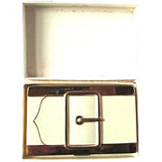 Fantastic Vintage Coty Buckle Double Vanity Powder Rouge Compact Ivory In Original Box