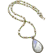 White Moonstone, Moonstone Necklace, Moonstone Earrings, Beaded Necklace, Boho Statement, Set,