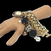 Vintage Bracelet Assemblage - Wide Big Multi-Chain Gold White Black - InVIntageHeaven