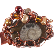 Ammonite Cuff bracelet - Forged Copper Woven with pearls& more - One of a kind - InVintageHeav