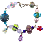 Colorful Glass Beaded Bohemian Bracelet - Bright and Sparkly - Sterling Silver - InVintageHeaven