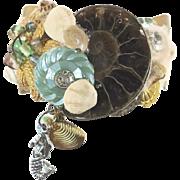 Mermaid Cuff Bracelet - Real Ammonite - Vintage Collage Assemblage - OOAK - InVintageHeaven