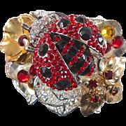 Ladybug Cuff Bracelet - Vintage Assemblage Collage - Silver Plated - Rhinestones - InVintageHe