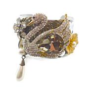 Swan Cuff Bracelet - Vintage Rhinestones - Assemblage Collage - InVintageHeaven