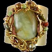 Jade Bracelet, Cuff Bracelet, Statement Piece, Brass Bracelet, Wire Wrapped, Beaded Cuff, Big