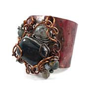 "SALE Bloodstone cuff bracelet - HUGE Forged copper, wire wrapped stones ""Boho Rustic Rock"
