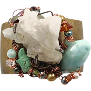 Quartz crystal & beaded cuff bracelet - Mermaid Treasure - Pearls aquamarine - Forged brass -