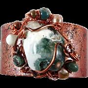 Ocean Jasper Bracelet, Copper Cuff Bracelet, Boho Jewelry, Forged Copper, Green Cream, Wire Wr