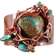 Turquoise Bracelet, Copper Bracelet, Cuff Bracelet, Big Bracelet, Wire Wrapped, Forged Cuff, .