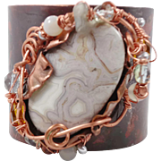 Lace Agate Cuff, Forged Bracelet, Grey Gray, Copper Cuff, Boho Bohemian, Wire Wrapped, Beaded,
