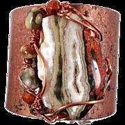 Ocean Jasper Cuff, Forged Bracelet, Copper Cuff, Green Brown, Boho Bohemian, Wire Wrapped, Bea