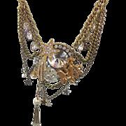 Star Moon Fairy Golden Rhinestone Vintage Assemblage Necklace - Big statement - InVintageHeave