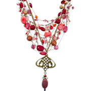 Pink & Raspberry Boho Necklace - Vintage Convertible Assemblage - One of a Kind - InVintageHeaven