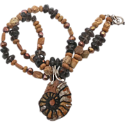 Ammonite Beaded Necklace - Quartz Pearls Jasper - Brown & Earth Tones - InVintageHeaven