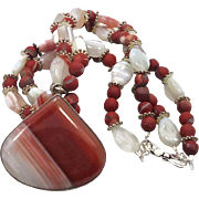 Agate Beaded Sterling Silver Necklace Pendant - Big Red Banded Stone - Bohemian Style - InVintageHeaven