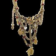 Woodland Fairy Bib Necklace - Golden Vintage Assemblage - InVintageHeaven