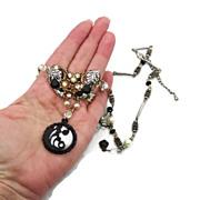 SALE Black Pearl Assemblage Necklace - Vintage elements - Gothic Bridal - InVintageHeaven